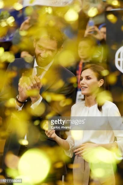 Queen Letizia of Spain and Spanish Basketball Federation President Jorge Garbajosa attend 'Queen Cup' basketball final between Perfumerias Avenida...