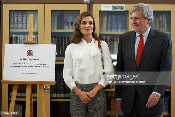 Queen Letizia of Spain and Spanish Minister of Culture Inigo Mendez de Vigo attend the Opening of vocational training course 2017/2018 at Instituto...