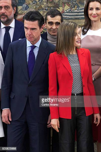 Queen Letizia of Spain and Spanish Minister of Development and Industry Jose Manuel Soria attend several audiences at Zarzuela Palace on April 13...