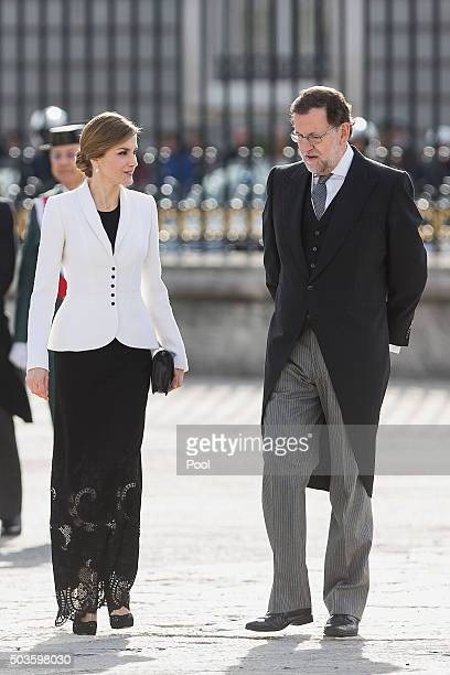 Queen Letizia of Spain and Spanish prime minister Mariano Rajoy attend the Pascua Militar ceremony at the Royal Palace on January 6 2016 in Madrid...
