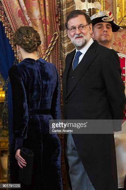 Queen Letizia of Spain and Spanish prime minister Mariano Rajoy attend the Pascua Militar ceremony at the Royal Palace on January 6 2018 in Madrid...