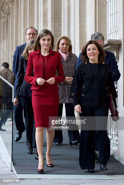 Queen Letizia of Spain and Spanish Vice President Soraya Saenz de Santamaria visit the Royal Palace on February 10 2016 in Madrid Spain