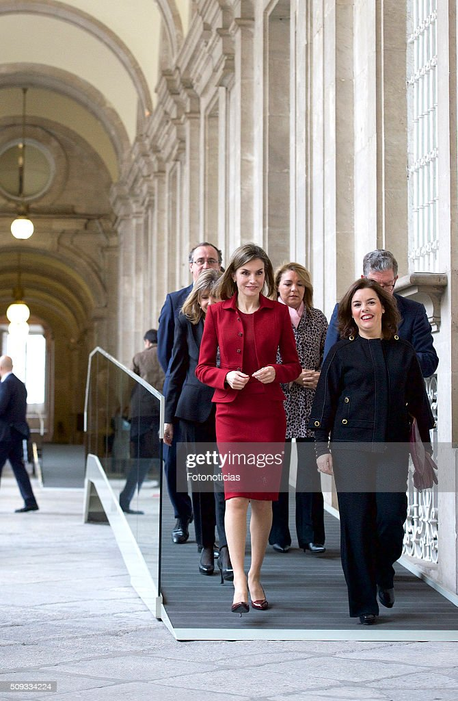 Queen Letizia of Spain and Spanish Vice President Soraya Saenz de Santamaria visit the Royal Palace on February 10, 2016 in Madrid, Spain