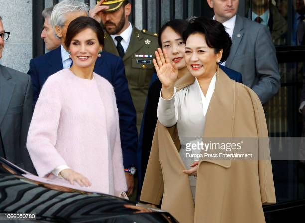 Queen Letizia Of Spain and the Chinese First Lady Peng Liyuan arrive at the Royal Teathre on November 28 2018 in Madrid Spain
