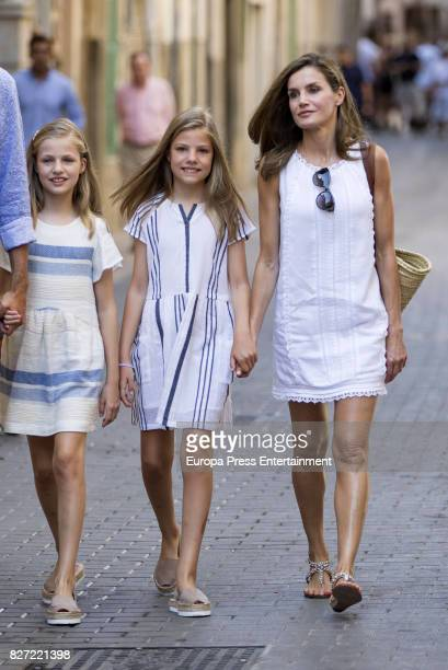 Queen Letizia of Spain and their daughters Princess Leonor of Spain and Princess Sofia of Spain visit the Can Prunera Museum on August 6 2017 in...