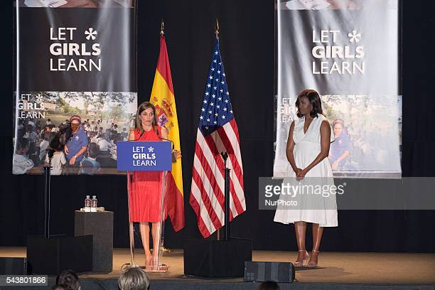 Queen Letizia of Spain and US First Lady Michelle Obama attend the presentation of 'Let Girls Learn' by US First Lady Michelle Obama at Matadero...