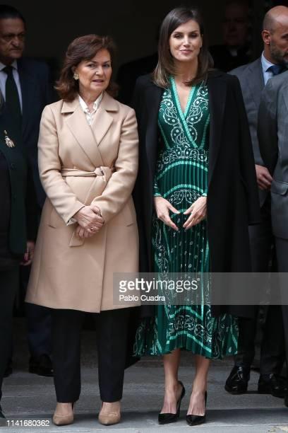 Queen Letizia Of Spain and Vicepresident Carmen Calvo visit the new accessibility facilities installed at 'Real Monasterio de La Encarnacion' on...