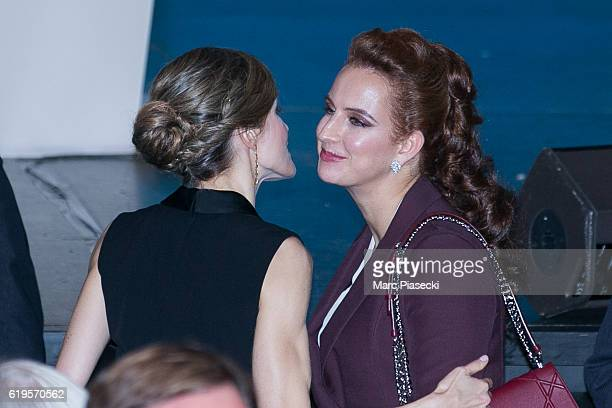 Queen Letizia of Spain and Wife of King Mohammed VI of Morocco Princess Lalla Salma attend the World Cancer Congress at Palais des Congres on October...