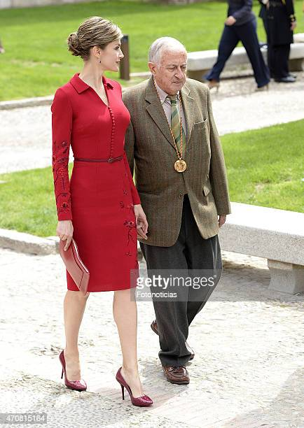Queen Letizia of Spain and writer Juan Goytisolo attend the Cervantes Award Ceremony at Alcala de Henares University on April 23 2015 in Alcala de...