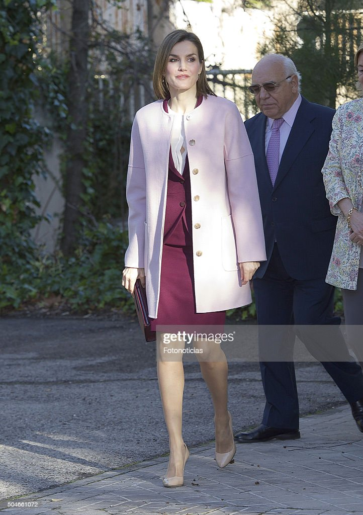 Queen Letizia of Spain arrives at a meeting at the Help For Drug Addiction Foundation (FAD) on January 12, 2016 in Madrid, Spain.