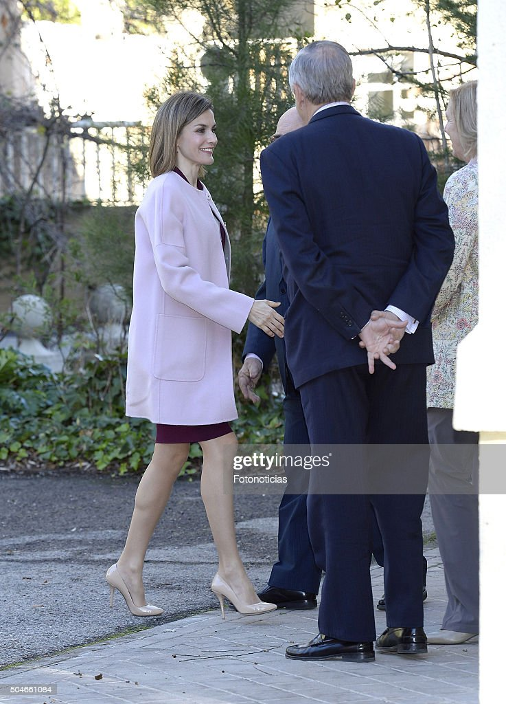 Queen Letizia of Spain (L) arrives at a meeting at the Help For Drug Addiction Foundation (FAD) on January 12, 2016 in Madrid, Spain.