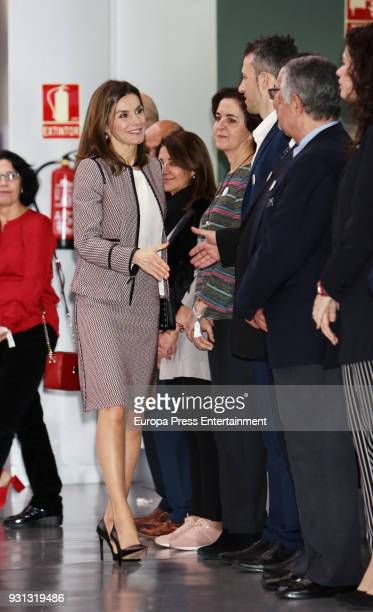 Queen Letizia of Spain arrives at a meeting for the Rare Diseases Day on March 13 2018 in Madrid Spain