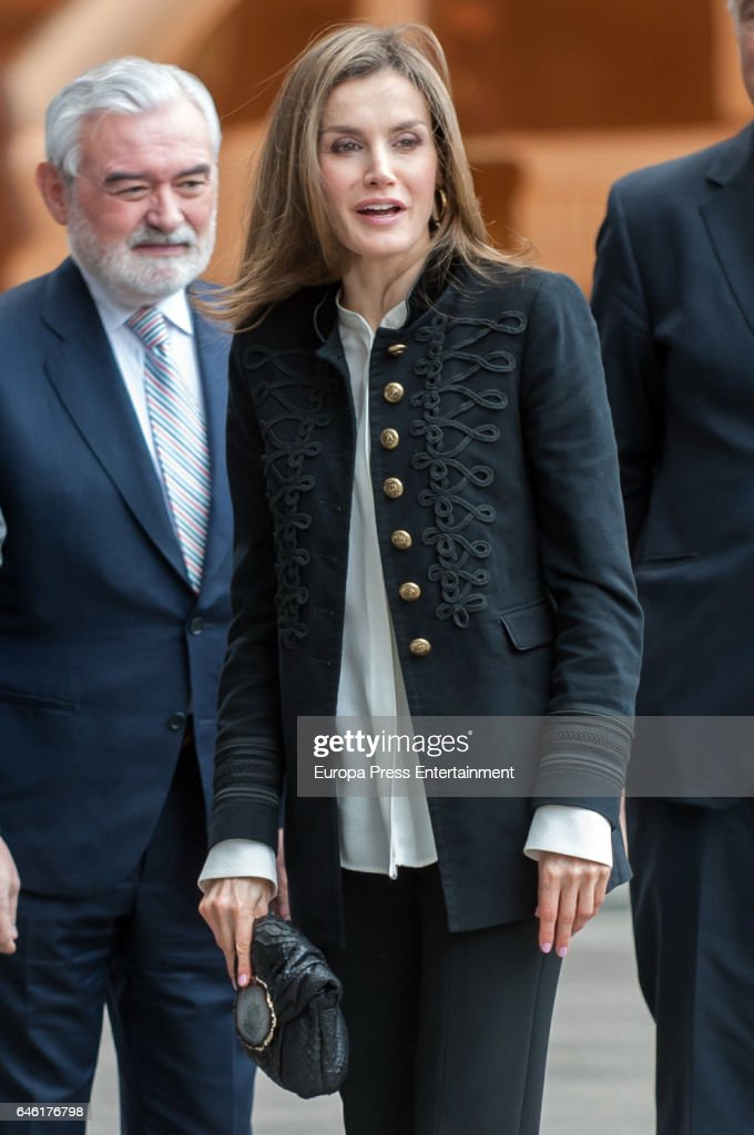 Queen Letizia Of Spain Arrives to the BBVA Foundation : News Photo