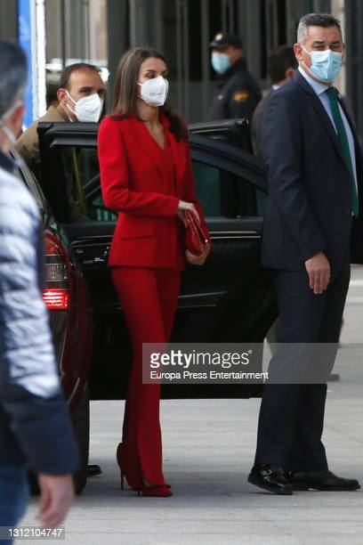 Queen Letizia of Spain arrives at Congress to preside over the act of tribute to the figure of Clara Campoamor on April 12, 2021 in Madrid, Spain.