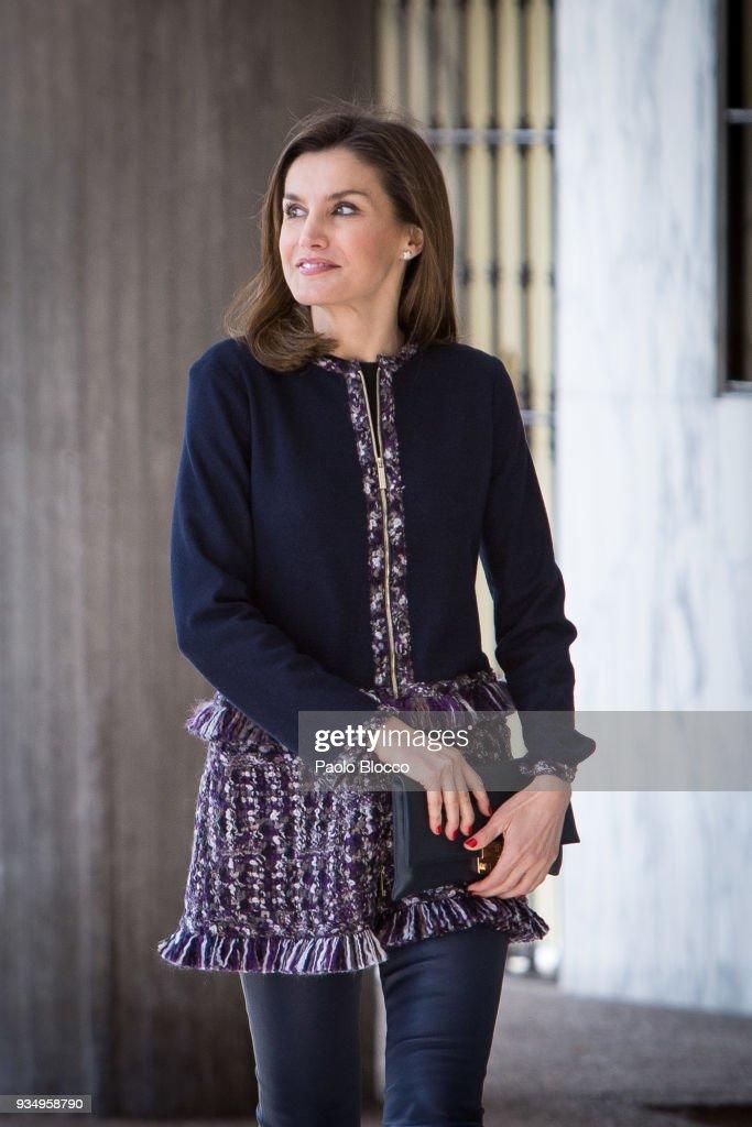 Queen Letizia of Spain Arrives At Integra Foundation Headquarters : News Photo