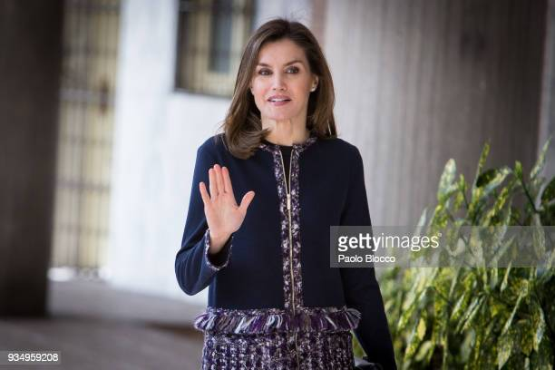 Queen Letizia of Spain arrives at Integra Foundation headquarters on March 20 2018 in Madrid Spain
