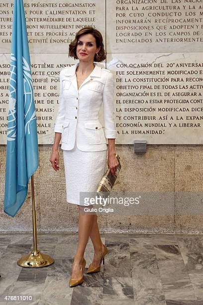 Queen Letizia of Spain arrives at the FAO Headquarters as she is named FAO Special Ambassador for Nutrition on June 12 2015 in Rome Italy
