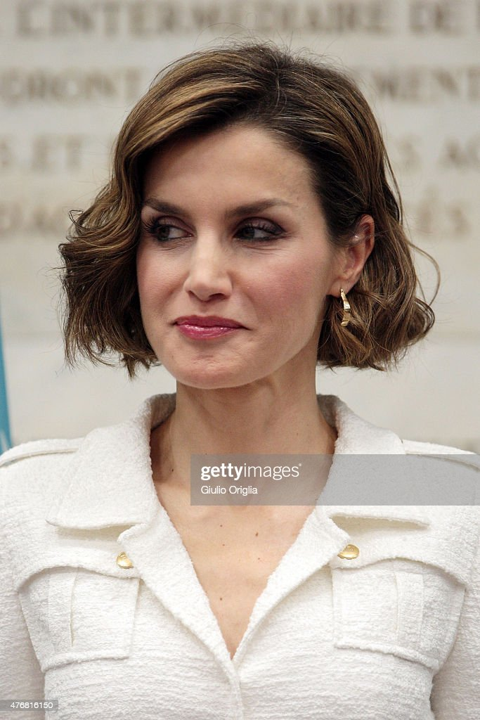 Queen Letizia of Spain arrives at the FAO Headquarters as she is named FAO Special Ambassador for Nutrition on June 12, 2015 in Rome, Italy.