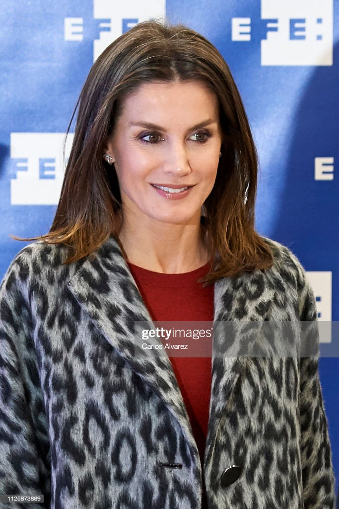 "ESP: Queen Letizia of Spain Arrives at ""Fundeu BBVA"" in Madrid"