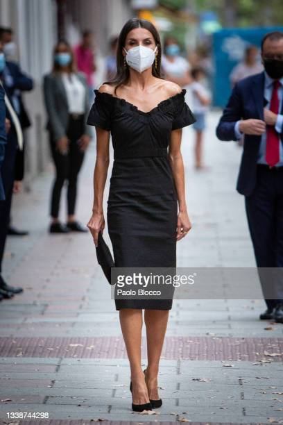 Queen Letizia of Spain arrives at the Giner de Los Rios Foundation to attend the first edition of the 'Retina Eco' awards on September 06, 2021 in...