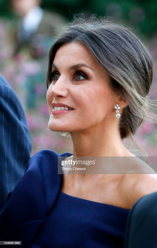 King Felipe Of Spain And Queen Letizia of Spain Attend The 'Miro, La Couleur Des Reves' Exhibition At Grand Palais in Paris : News Photo