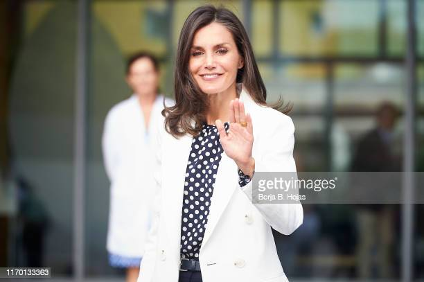 Queen Letizia of Spain arrives at the hospital to visit King Juan Carlos who underwent heart surgery on August 25 2019 in Pozuelo de Alarcon Spain