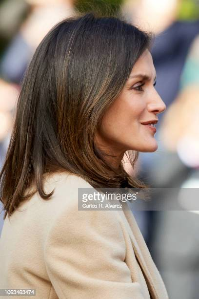 Queen Letizia of Spain arrives at the inaugural act of the bicentennial of the Prado Museum on November 19 2018 in Madrid Spain