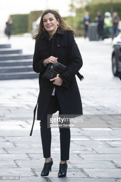 Queen Letizia of Spain arrives at the Royal Theater on March 15 2018 in Madrid Spain