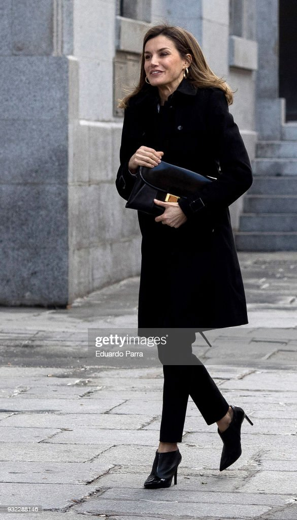 Queen Letizia Arrives At The Royal Theatre