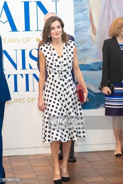 Queen Letizia of Spain arrives at the San Antonio Museum of Antonio to attend the inauguration of the Masterpieces of Spanish Painting from Madrid on...