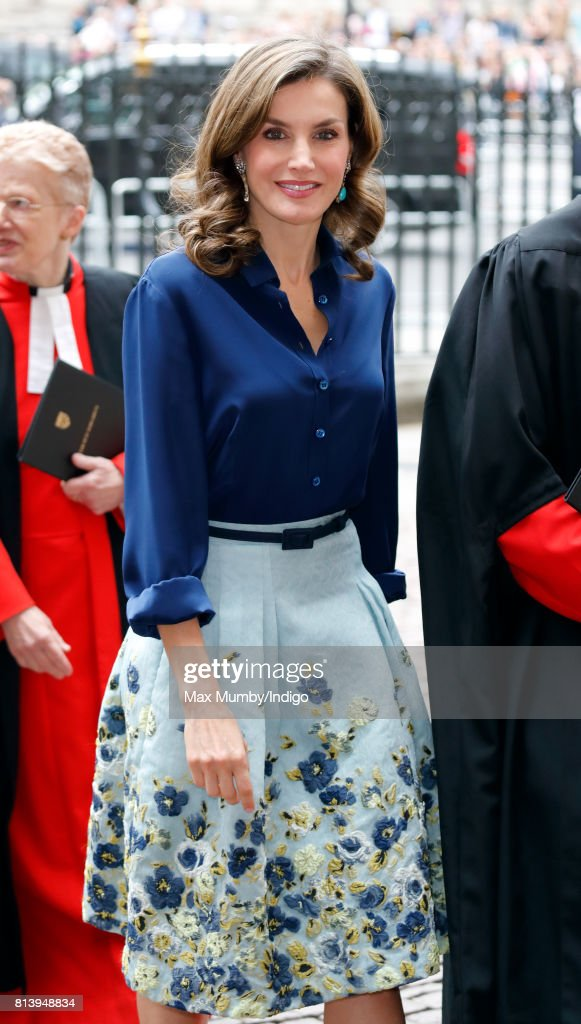 Queen Letizia of Spain arrives at Westminster Abbey to lay a wreath at the Grave of the Unknown Warrior during day 2 of the Spanish State Visit to the United Kingdom on July 13, 2017 in London, England. This is the first State Visit by the current King Felipe and Queen Letizia, the last being in 1986 with King Juan Carlos and Queen Sofia.