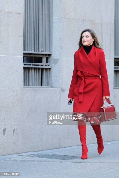 Queen Letizia of Spain arrives for a meeting at the AECC on December 21 2017 in Madrid Spain