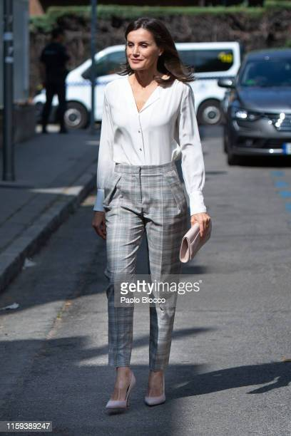 Queen Letizia of Spain arrives for a meeting at the AECC on July 01, 2019 in Madrid, Spain.