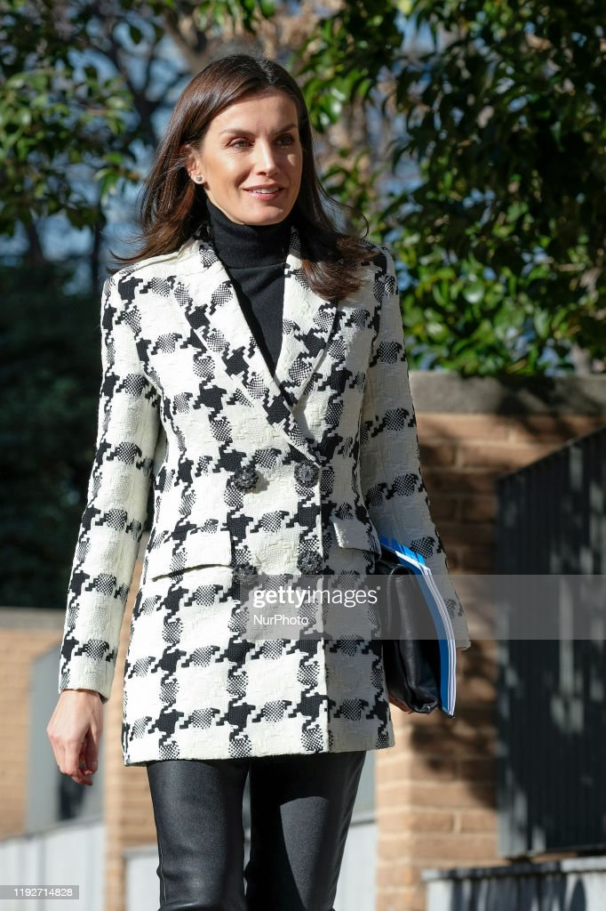 Queen Letizia Of Spain Arrives To FEDER Headquarters : News Photo