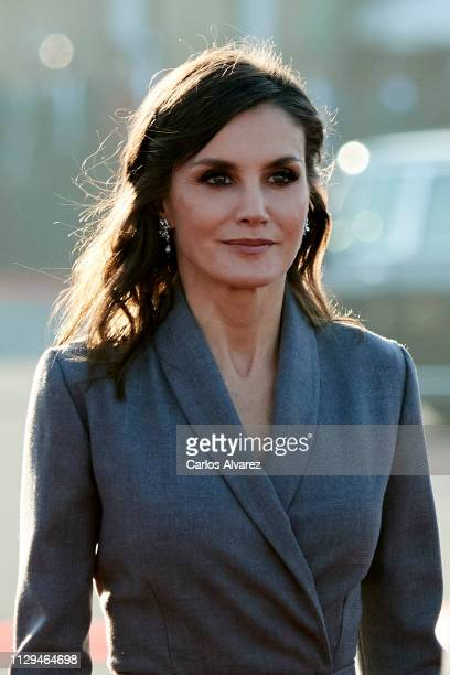 Queen Letizia of Spain arrives for a welcoming ceremony at the Royal Palace on February 13, 2019 in Rabat, Morocco. The Spanish Royals are on a two...