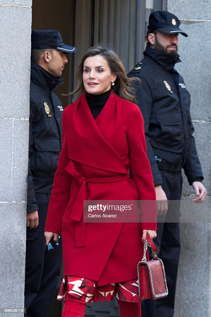 Queen Letizia Arrives To A Meeting At The AECC