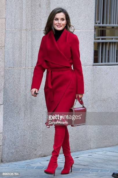 Queen Letizia of Spain arrives to a meeting at the AECC on December 21 2017 in Madrid Spain