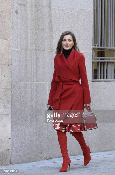 Queen Letizia of Spain arrives to a meeting at the AECC on December 21, 2017 in Madrid, Spain.