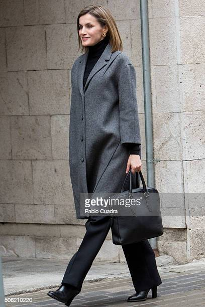 Queen Letizia of Spain arrives to a meeting at the Spanish Association Against Cancer on January 22 2016 in Madrid Spain