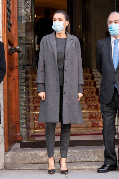 ESP: Queen Letizia Of Spain Arrives To A Meeting With FundeuRAE