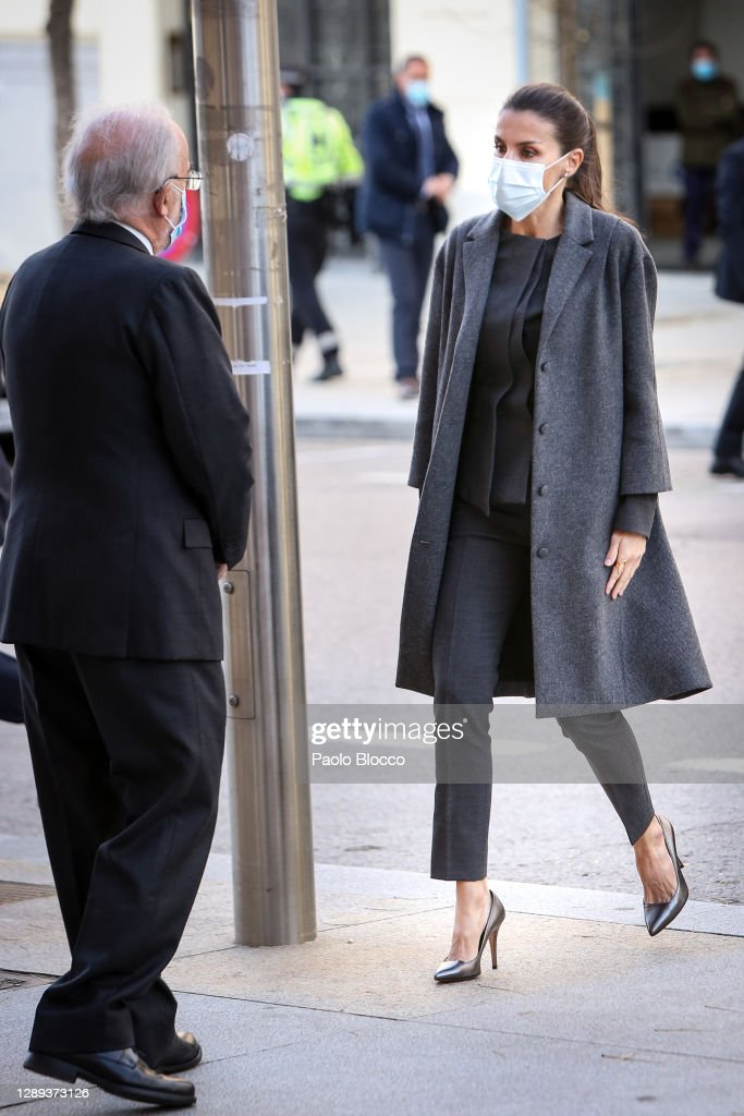 Queen Letizia Of Spain Arrives To A Meeting With 'FundeuRAE' : News Photo