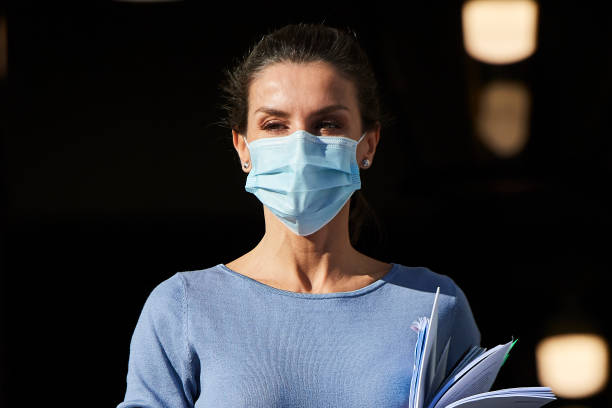 ESP: Queen Letizia Of Spain Arrives To A Meeting With UNICEF Spain