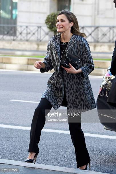 Queen Letizia of Spain arrives to attend a GenderBased Violence meeting at Delegacion del Gobierno Para la Violencia de Genero headquarters on...