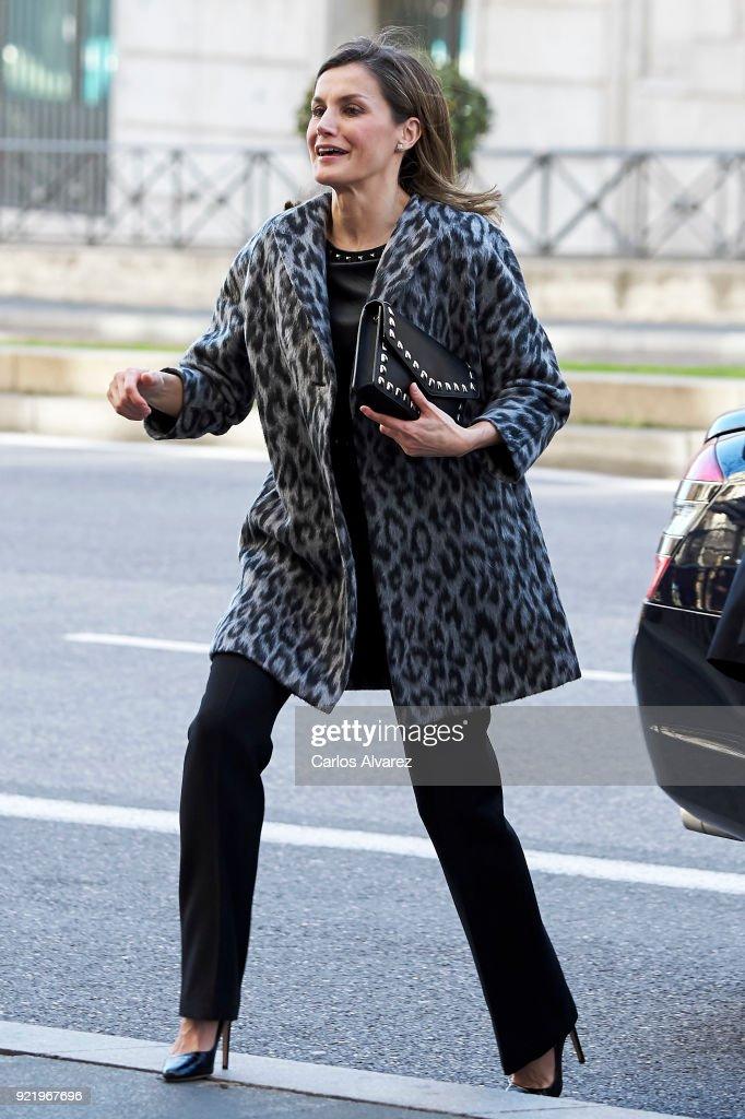 Queen Letizia of Spain arrives to attend a Gender-Based Violence meeting at Delegacion del Gobierno Para la Violencia de Genero headquarters on February 21, 2018 in Madrid, Spain.