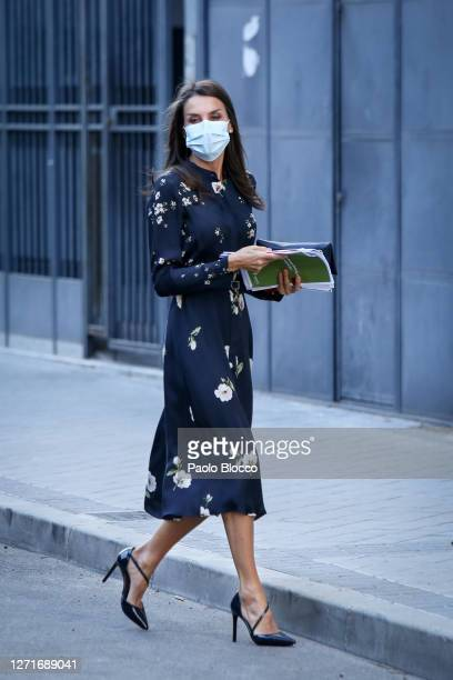 Queen Letizia of Spain arrives to attend a meeting at AECC on September 10, 2020 in Madrid, Spain.