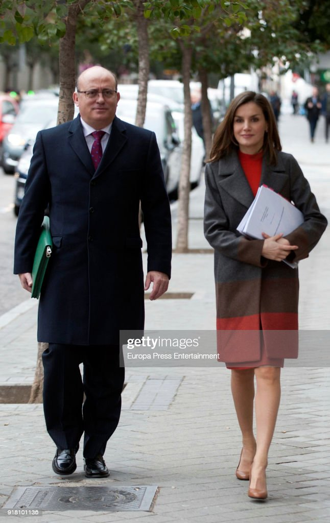 Queen Letizia of Spain arrives to attend a meeting at FEDER (Rare Diseases Spanish Federation) on February 14, 2018 in Madrid, Spain.