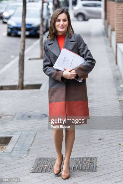 Queen Letizia of Spain arrives to attend a meeting at FEDER on February 14 2018 in Madrid Spain