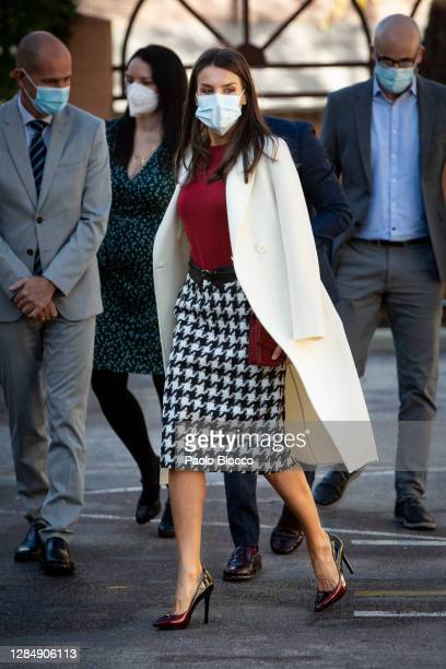 Queen Letizia of Spain arrives to attend a meeting at the headquarters of the Royal Board for Disabilities on November 10, 2020 in Madrid, Spain.
