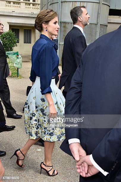 Queen Letizia of Spain arrives to attend the Velasquez painting exhibition at the Grand Palais on June 2 2015 in Paris France