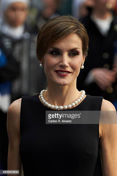 Queen Letizia of Spain arrives to the Campoamor Theater for the Princess of Asturias Award 2015 ceremony on October 23 2015 in Oviedo Spain